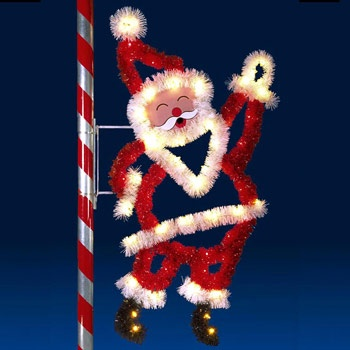 8' X 4' Santa Claus, Pole Mount, Clear and Red Lamps