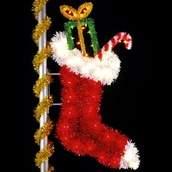 9' X 4' Stocking, Pole Mount, Amber, Clear, Green and Red Lamps