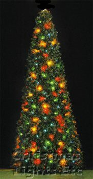 12' Full Round Rocky Mountain Pine Spiral Fantasy Tree, Multicolored Lamps