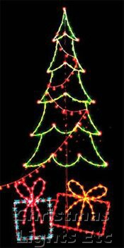 14' Carolina Pine Tree w/Packages and String of Lights, Multicolored Lamps