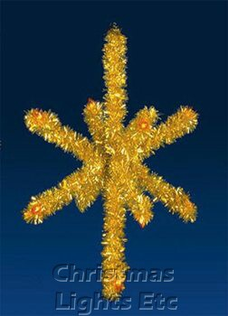 3.5' 3-D Gold Tree Top Star, Amber Lamps