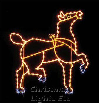 7' X 6.5' Horse w/Head Raised, Amber, Blue and Clear Lamps