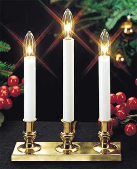 Multi-Function Triple Brass Base Candle with Light Sensor