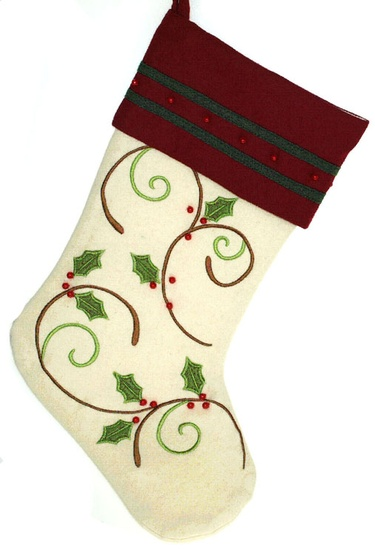 Ivory Stocking with Holly Design and Burgundy Cuff