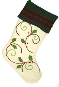 Ivory Stocking with Holly Design with Green Cuff