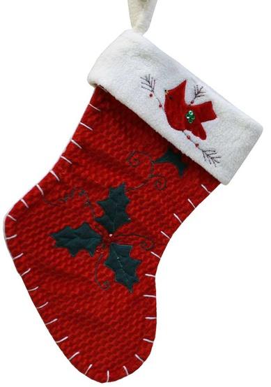 """15"""" Red Cardinal Christmas Stocking"""