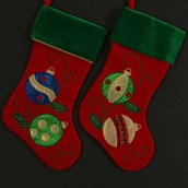 Red and Green Velvet Christmas Stockings, 2 Piece Set