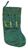 "19"" Green Tasseled Stocking"