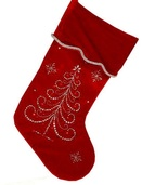 "19"" Red Jeweled Tree Stocking"