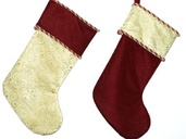 "19"" Velvet Swirl Design Gold Stockings, Set of Two"