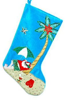 "19"" Santa on the Beach Stocking"