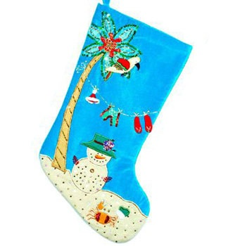 "19"" Snowman on the Beach Stocking"