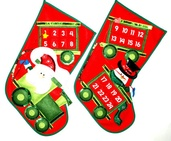 "19"" Countdown to Christmas Santa Advent Stockings, 2 Piece Set"