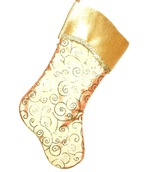 "19"" Gold Stocking with Swirl Design"