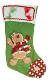 "20"" Green Gingerbread Man Stocking"