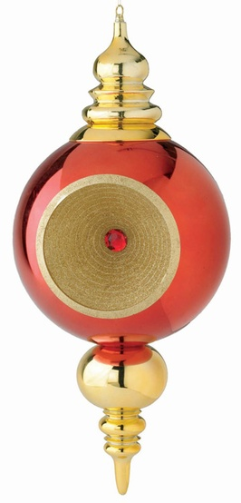 "31"" Shiny Red and Gold Finial with Gold Glitter"