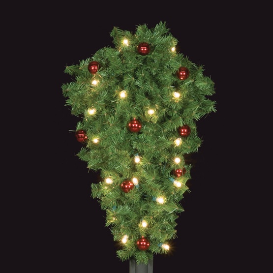 """48"""" Deluxe Post Spray with Red Ornaments, Center Mount"""