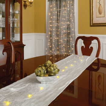 "68""L Battery Operated LED Silver Fabric Table Runner"