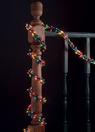 9' Garland Lights, 300 Multicolored Lamps, Green Wire