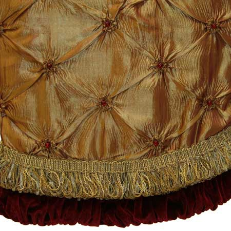 "56"" Gold Tree Skirt with Burgundy Trim"