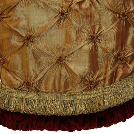 "56"" Gold Tree Skirt with Burgundy Trim"