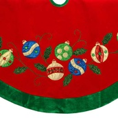 "48"" Red Velvet Christmas Tree Skirt with Ornament Applique"