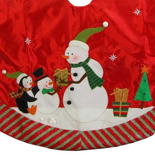 "46"" Snowman Tree Skirt with Striped Border"