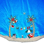 "56"" Velvet Beach Scene Tree Skirt"