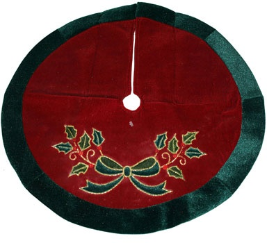 "20"" Burgundy Mini Tree Skirt with Holly"
