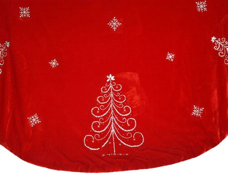 "56"" Red Jeweled Tree Skirt"
