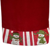 "56"" Snowman Tree Skirt with Striped Border"