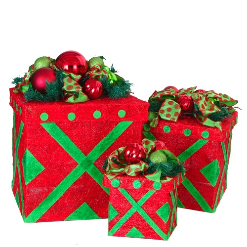 Red Lighted Gift Boxes Trio