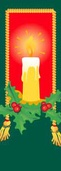 "Candle with Holly Light Pole Banner 30"" x 94"""