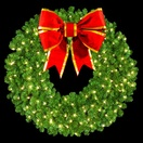 "48"" Single Faced Wreath, 200 Clear Lamps, 24"" Bow"