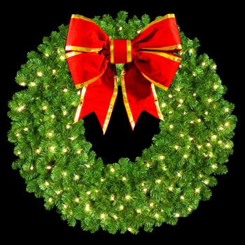 """48"""" Single Faced Wreath, 200 Clear Lamps, 24"""" Bow"""