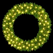 6' Mountain Pine Double Ring Wreath, Building Mount, 80 C7 Clear Lights