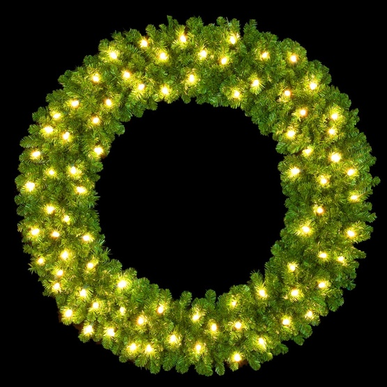 6' Unlit Mountain Pine Double Ring Wreath, Building Mount