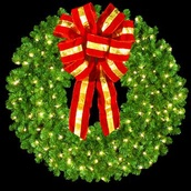 """36"""" Pre-Lit Mountain Pine Wreath with 16"""" Red and Gold Puff Bow, 150 Clear Lights, Wall Mount"""