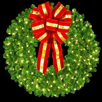 "36"" Pre-Lit Mountain Pine Wreath with 16"" Red and Gold Puff Bow, 150 Clear Lights, Wall Mount"