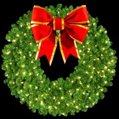 "36"" Pre-Lit Mountain Pine Wreath with 18"" 3-D Structural Bow, 150 Clear Lights, Wall Mount"