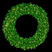 "48"" Pre-Lit Mountain Pine Wreath, 200 Clear Lights, Wall Mount"