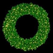 "48"" Pre-Lit Mountain Pine Wreath, 200 Clear Lights, Wall Mount"