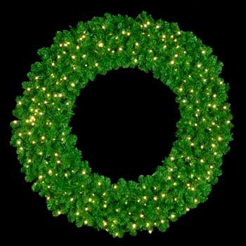 "60"" Pre-Lit Mountain Pine Wreath, 300 Clear Lights, Wall Mount"