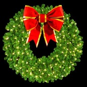 "72"" Pre-Lit Mountain Pine Wreath with 36"" 3-D Red Velvet Structural Bow, 400 Clear Lights, Wall Mount"