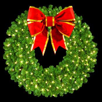 "60"" Pre-Lit Mountain Pine Wreath with 30"" 3-D Red Structural Bow, 300 Clear Lights, Wall Mount"