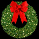 "10' 3-D Wreath with 60"" Velvet Red Bow and 180 C7 Lights, Building Mount"