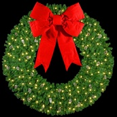 "12' Mountain Pine 3-D Wreath with 60"" Red Velvet Structural Bow and 210 C7 Lights, Building Mount"