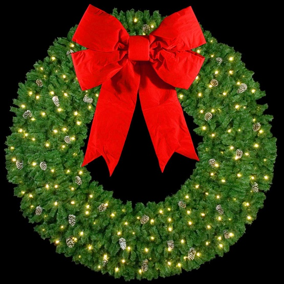"10' Mountain Pine 3-D Wreath with 48"" Red Velvet Structural Bow, Building Mount"