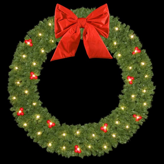 "10' Mountain Pine Wreath with 36"" Red Nylon Bow and 60 C9 Lights, Building Mount"