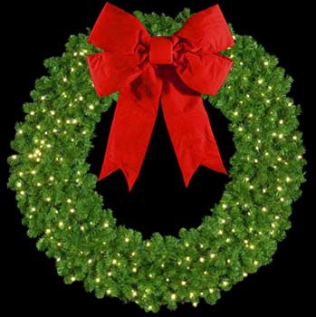 "36"" Pre-Lit Mountain Pine Wreath with 18"" 3-D Red Velvet Bow, 150 Clear Lights, Wall Mount"